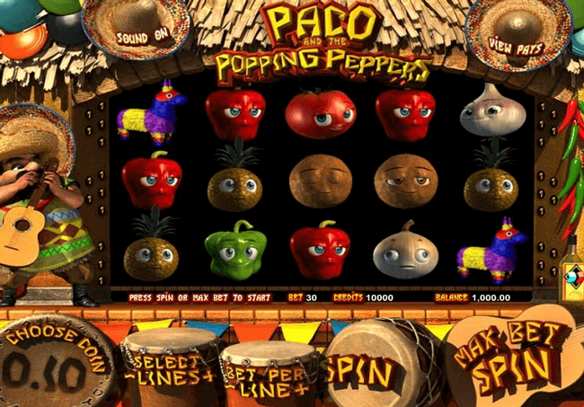 Bono Paco and the popping peppers tragaperras online