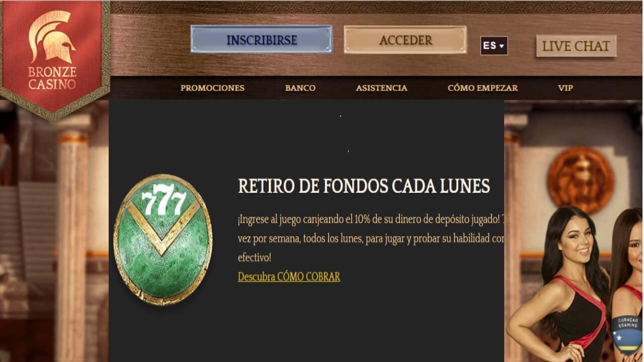 Bonificacion del 10% los lunes Bronze Casino