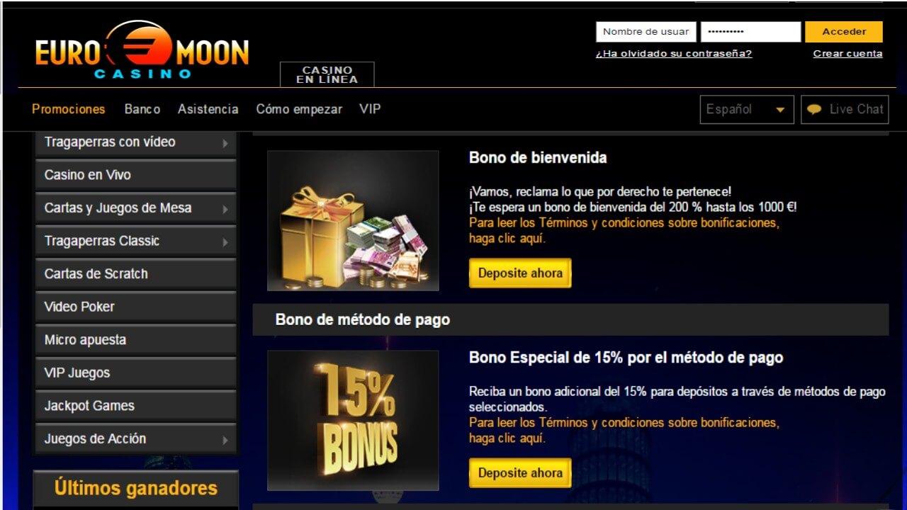 Euromoon 15% por método de ingreso