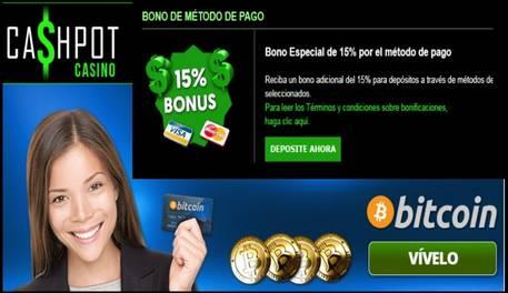 Cashpot Casino entrega hasta 15% promocional por método de ingreso