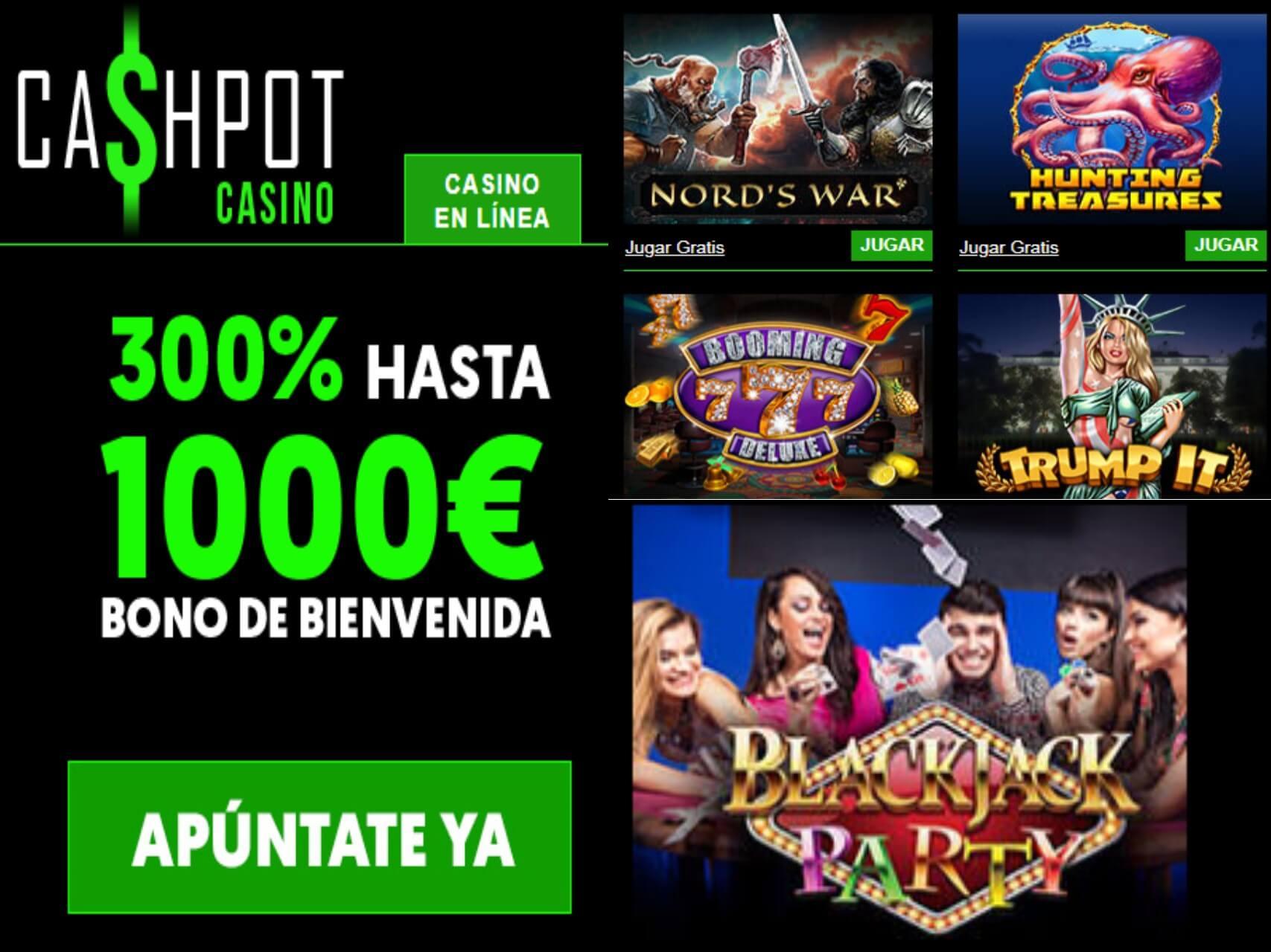 Obtenga 300% promocionales de bienvenida Casino Cashpot