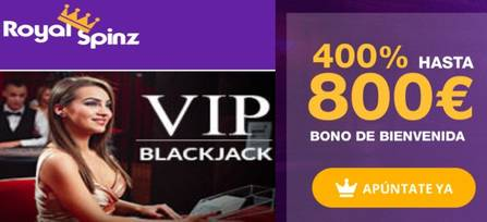400% adicionales por bono bienvenida Casino RoyalSpinz