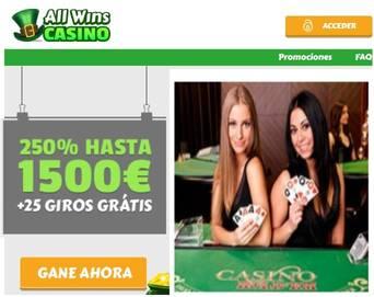 Bono de bienvenida Casino Allwins hasta por 1500 euros